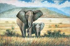 James Wilson (*1965 Durban): Elefantenmutter mit Jungem in Savanne, Ölgemälde