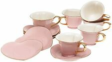 Yedi House Inside Out Heart: Cup & Saucer 5 oz - Pink/Gold, Set of 6 Tea Party