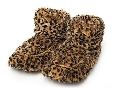 Intelex Cozy Boots Leopard Tawny Heatable Microwavable Furry Bed Warmer Slippers