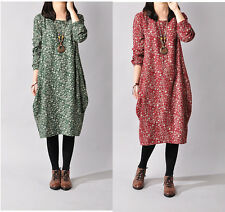 Ladies Oversized Linen&Cotton Mid-Long Floral Shift Dress Long Sleeve Tunic