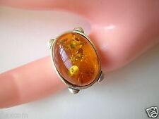 Großer 925 Silber Ring mit Honig Bernstein 10,4 g/17,3 mm Honey Amber