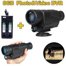8GB Infrared Dark Night Vision 5X40 IR Monocular Binoculars+2xBattery+Charger