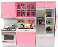 Deluxe Modern Kitchen Playset Battery Operated Refrigerator Oven Sink Pink New