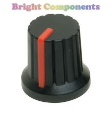 Potentiometer Knob (Red Pointer) - Push Fit for 6mm Shaft - 1st CLASS POST