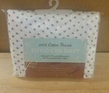 TL Care 100% Cotton Percale Fitted Crib Sheet, White with Gray Dot *NWT*