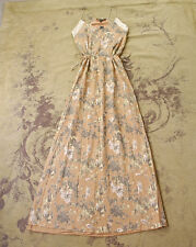 WINTER KATE BEIGE FLORAL COTTON LACE DRAWSTRING TIE LONG MAXI BOHO DRESS XS 0 2