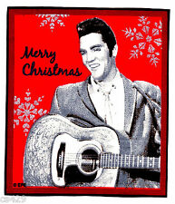 """5"""" ELVIS PRESLEY KING ROCK N ROLL CHRISTMAS HOLIDAY FABRIC APPLIQUE IRON ON"""