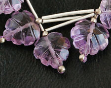 Natural Brazilian Amethyst Hand Carved Fancy Leaf Gemstone Bead