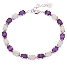 "White Fire Opal Amethyst Women Jewelry Gemstone Silver Bracelet 8 1/8"" OS358"