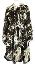 ALEXANDER McQUEEN Brown & Ivory Marbled Rabbit Fur Trench Style Coat 44