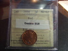 CANADA ONE CENT 1958 DOUBLE 958 ICCS MS-62 !!!!