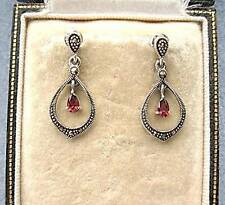 Dainty Deco Design Marcasite Silver & Garnet CZ Drop Earrings