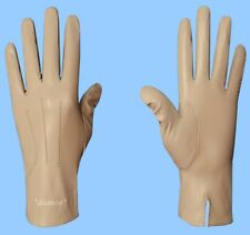 NEW MENS size 9 GENUINE BEIGE LAMBSKIN LEATHER DRESS GLOVES with SILK LINING