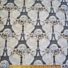 Toujour Eiffel Tower Penelope Fabric By Yard Cotton Lake House Floral Paris