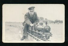 MINIATURE  RAILWAY steam loco Engine and driver c1950/60s? photo unlocated