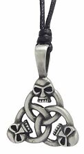 Pewter SKULL TRINITY Pendant on Black Cord Necklace Nickel Free Celtic Knot