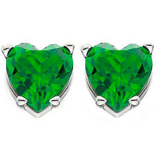 1.00Ct Heart Shape Created Synthetic Emerald Studs 14K White Gold Earrings