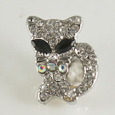 1 PC 18MM White Cat Rhinestone Silver Snap Candy Charm kb7037 CC1490