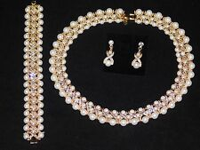 3PC Set Hugs and Kisses Necklace,Earrings & Bracelet Gold W.Rhinestone & Pearl