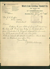 White Line Central Transit Co. * signed 1898 railroad letter by G T Chamberlain