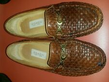 ladies brown wooven leather coach loafers size 7B