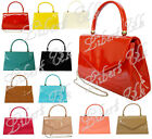 NEW RETRO PATENT WEDDING LADIES PARTY PROM EVENING CLUTCH HAND BAG ENVELOP PURSE