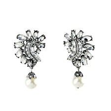 ZARA BEAUTIFUL WHITE PEARLS CLEAR STONES 1 3/4'' DROP EARRINGS NEW BRIDAL CLIPS