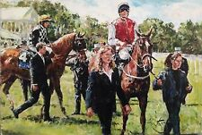 "RARE SUPERB ORIGINAL GORDON KING ""Up for the Start"" Horse racing OIL PAINTING"