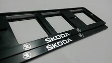 2X SKODA EUROPEAN LICENSE NUMBER PLATE SURROUND FRAME HOLDER.