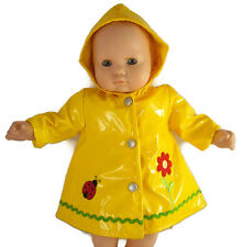Yellow Embroidered Ladybug Raincoat for Bitty Baby + Twins Doll Clothes