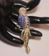 Signed Nolan Miller Gold Tone Clear & Blue Rhinestone Bird Figural Pin Brooch