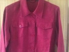Dunnes Stores short fitted linen jacket size 10, dark red, new