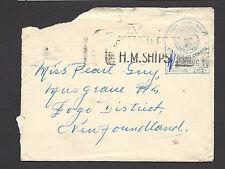 Rare NEWFOUNDLAND Censored Mailed at Sea SHIP COVER (#D1608)