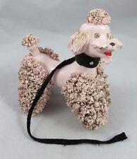 Vintage Spaghetti Poodle Figurine - Pink - Rhinestone Eyes / Leash - Ceramic