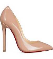 Christian Louboutin Pigalle 120 Patent Nude Heels Shoes Courts Uk 6.6 Eu 39.5