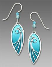 Adajio AQUA Teardrop EARRINGS Swirl Overlay Cab STERLING Silver - Gift Wrap box