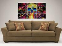 """PSYCHEDELIC SKULL MOSAIC 35""""X25"""" INCH WALL POSTER"""