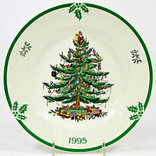 "Spode England 1995 CHRISTMAS TREE YEAR PLATE 8"" Collector Green Rim Mistletoe"