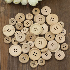 50 Pcs Helpful Mixed Wooden Buttons Color Round 4-Holes Sewing Scrapbooking DIY