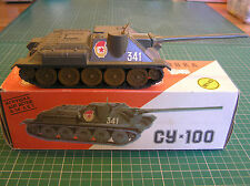 COLD WAR VINTAGE SOVIET MADE SU-100 ASSAULT GUN  original box 1:43