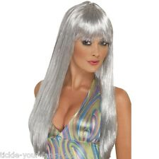 Womens 70's Glitter Disco Wig Long Straight Fun Fancy Dress Night Fever Pop Star