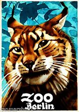 Berlin Germany Zoo Bob Cat Mountain Lion Advertisement Travel Art Poster