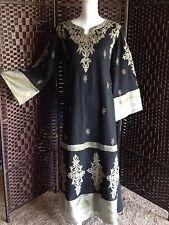 ***EID***Gorgeous Black & Gold Middle East Kaftan Jalabiya Abaya Maxi Dress Sz S