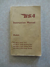 BSA A model motorcycles A7 500 cc & A10 650 cc models owner's manual