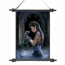 Medieval Elven Maiden Water Dragon Gothic Scroll Tapestry Wall Hanging NEW
