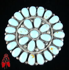Vintage Navajo light blue turquoise Cluster pendant pin sterling silver old pawn