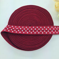 "5 10 20 50 Yards 5/8"" 15mm Polka Dot Fold Over Elastic Spandex Satin Band Ties"