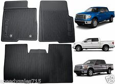 OEM Black Rubber Floor Mats For 2010-2014 Ford F-150 SuperCrew w/o Subwoofer New