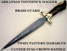 CUSTOM DAMASCUS STEEL BOWIE KNIFE / DAGGER SWORD / STAG CROWN ARKANSAS TOOTHPICK
