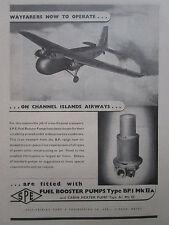5/1946 PUB SPE FUEL BOOSTER PUMP BRISTOL WAYFARER CHANNEL ISLANDS AIRWAYS AD